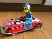 1950and039s Donald Duck Wind-up Driver Car World Doll Linemar Toy Marx Disney F/s