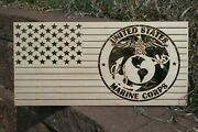 American Flag With The Us Marine Corp Insignia - Laser Wall Art