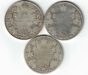 3 X Canada 50 Cents Edward Vii Canadian Sterling Silver Coins 1906 1907 1908