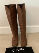 Cc Tall Riding Boot Brown Leather Soft Size 37 1/2