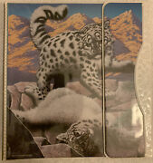 Vintage Mead Binder Nature Pals Snow Leopard. 1993. 2 Mead Folders And Pad.