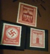 Ww2 Nazi 7 Stamps 1942 Red Swastica Eagle B.gate Column Hitler 3rd Reich
