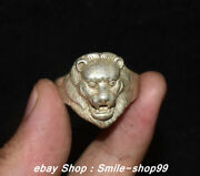Unique China Old Silver Carving Feng Shui Lion Beast Head Jewellery Finger Ring