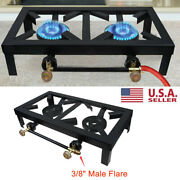 Portable Double 2 Burner Gas Propane Stove Outdoor Camping Picnic Bbq Cooker
