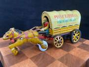 1960s Yellow Tinplate Covered Wagon Linemar Toys Japan Vintage Antique Figures