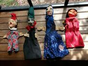 4 Vintage Handmade Puppets Antique Germany Creepy Paper Mache And Hair