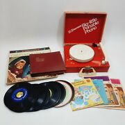 Vintage Lot Emerson Big Little Portable Phonograph And 40+ Childrens Records Works