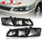 Black Clear Driving Halogen Head Lights Lamps Lh + Rh For 2000-2001 Toyota Camry