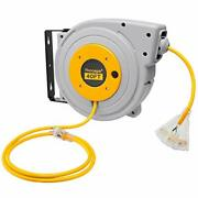 40 Ft Retractable Extension Cord Reel - 12/3 Sjtw Heavy Duty Yellow Cable