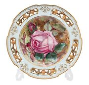Antique Wedgwood Hand Painted And Pierced Aesthetic Plate With Rose By Dean C1880