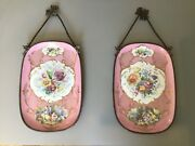 Pair Of Antique Hand Painted Limoges Porcelain Wall Plaques