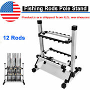 12 Rods Rack Fishing Rod Outdoor Pole Aluminum Alloy Holder Stand Storage Tool