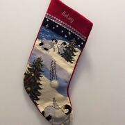 Kelsey Personalized Lands End Needlepoint Christmas Stocking Penguin Snowball