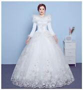 Winter Shawl Wedding Dress Bridal Gown Invisible Zipper Tiered Lace Applique New