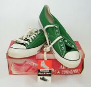 1970's Converse Chuck Taylor Low All Star Mens Green Ox Size 16 With Box