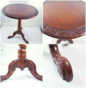 19th C Circular Inlaid Marquetry Side Table With Carved Rosewood Rare