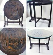 A Super Quality Early 19th Century Chinese Carved Fold Up Table With Glassrare