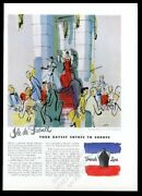 1949 French Line Ship Travel Ile De France Dining Room Jean Pages Art Vintage Ad