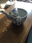 Dresden Victorian Feeding Invalid Cup Blue Onion Signed