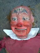 Early 20th Century Ventriloquist Articulated Marionette Puppet Folk Art