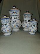 1950's Heritage Royal Sealy   Blue Onion Vintage Canister Set Of 4.
