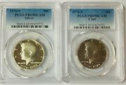 1976-s Kennedy Silver And Clad Half Dollar Proof Pcgs Pr69dcam 2 Coin Set