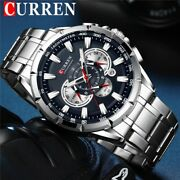 Curren Wrist Watch Mens Waterproof Chronograph Military Army Stainless Steel