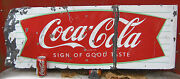 Antique 1950and039s Retro Coca Cola Fish Tail Sled Sleigh Porcelain Soda Art Sign