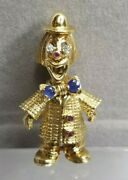 Vintage 18k Yellow Gold Bejeweled Clown Brooch W/diamonds Rubies And Sapphires