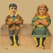 Two Paper Litho Wood Sitting Antique Dolls Bliss Schoolhouse
