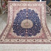 Yilong 8and039x10and039 Large Blue Carpets Silk Hand Knotted Handmade Home Area Rug M270c