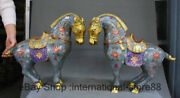 18 Old China Cloisonne Copper Feng Shui Horse Flower Success Pair Statue