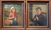Good Pair Victorian Oil On Canvas Paintings Boy And Girl Signed By Monogram C.1850