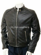 Roxa Menand039s Stitch Shoulder Black Cow Coat Authentic Cowhide Real Leather Jacket