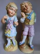 Antiqe 1901-1920 Porcelain Figurines Couple With Baskets Germany Early 20th Ce