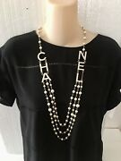 Xl Crystals Letters Pearls Gold Tone Chain Necklace Runway
