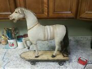 Large Antique Horse Hide Covered Horse Pull Toy