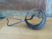 Rare Vintage Tin Bakery Double Cookie Biscuit Cutter Stovepipe W Heart Handle