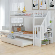 Twin Over Twin Bunk Bed W/ Trundle Staircase Storage Kids Bedroom Furniture Wood