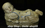 China Old Porcelain Carving Tongzi Boy Pillow Weeping Willow Statue Sculpture