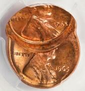 1965 Pcgs Ms64rd Double Struck Off Center Double Date Lincoln Cent Mint Error