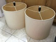 Vintage Mid-century Pair Of Cream Fabric Lamp Shades With Finials