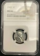 1943-p Ngc Ms 66 Lincoln Steel Wheat Penny Cent Uncirculated A