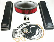58-79 Sbc Chevy 350 Black Engine Dress Up Kit Tall Valve Covers Air Cleaner Red