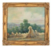 Impressionist Haystack Landscape Painting In Style Of Claude Monet 20th Cent.