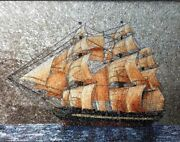 Wall Hanging Table Top Gift Artwork Highest Quality Cylon Gemstone Sailing Ship