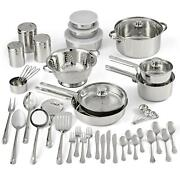 52-piece Cookware Combo Set Stainless Steel Home And Kitchen Dining And Bar Pan Sets