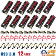 12pack Ver009s Pci-e Riser Card Pcie 1x To 16x Usb 3.0 Data Cable Bitcoin Mining