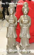 30 Old China Tang Dynasty Silver Gilt Belle Beauty Woman Girl Fan Pair Statue
