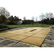 Pool Safety Cover 16x32 Ft Solid Laminate No Step In Ground Rectangular Brown